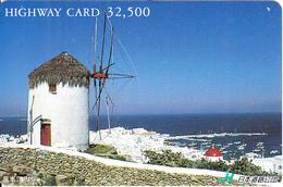 JAPAN - Mykonos Island/Greece, Highway Card Y32500, Used - Paysages