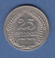 Deutsches Kaiserreich Kursmünze 25 Pfennig 1911 E - [ 2] 1871-1918: Deutsches Kaiserreich