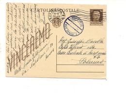 2807) Intero Postale IMPERIALE 30c VINCEREMO 1944 DA ROMA X SICILIA PALERMO CENSURA - Storia Postale