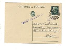 2813) Intero Postale IMPERIALE 15c 1942 ANNULLO FRAZIONARIO CHIUSA SCLAFANI MILITARE - Storia Postale