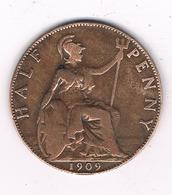 HALF PENNY  1909  GROOT-BRITANNIE /8530/ - 1902-1971 : Post-Victorian Coins
