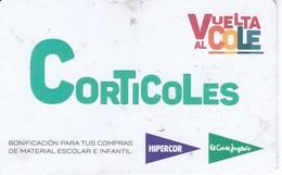 TARJETA DE REGALO DE EL CORTE INGLES DE CORTICOLES (GIFT CARD-CADEAU) VUELTA AL COLE - Tarjetas Telefónicas