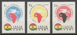 Ghana 1962 Mi# 115-17** CASABLANCA CONFERENCE, 1st ANNIV. - Ghana (1957-...)