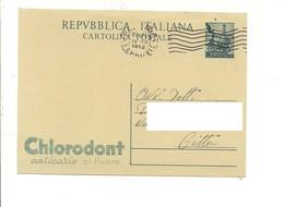 2824) Intero Postale £20 Quadriga CHLORODONT 19-7-1952 Palermo X Distretto - 6. 1946-.. Repubblica