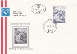 1971  FDC - Ersttag. Mi: 1372 Brenner Autobahn Eröffnung, Schönberg Im Staubaital - FDC