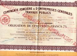 Lot 2 Obligations De 500 F Cie Foncière & D'entreprises Générales De Travaux Publics De 1929  Obligation N° 018707 Et 09 - Banque & Assurance