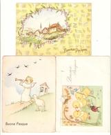 CT--2688-- 3 CARTOLINE - BUONA PASQUA-COCCINELLA-PULCINI-RONDINI-ANGELO-AGNELLINO-ANNI 1941/49/69 - Easter