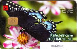 ALBANIA - Butterfly, Albtelecom Telecard 200 Units, Tirage 75000, 11/04, Used - Albanie