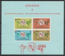 Ghana 1965 Mi# 210-13+ Bl.17** ITU CENTENARY - Ghana (1957-...)