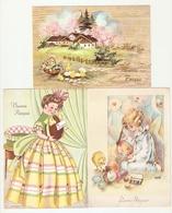CT--2689-- 3 CARTOLINE - BUONA PASQUA-PULCINI-UOVA-FANCIULLA CON UOVO ( MOLTENI )ANNI 1945/53/60 - Easter