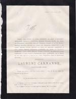 LIEGE ROBERMONT Ancien Fabricant D'armes Laurent CARMANNE 62 Ans 1879 Faire-part Décès COUNE RUFFIN - Décès