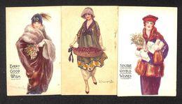 Bompard Artist Signed Glamour Ladies Rare Lot 3 Vintage Postcards - Cartes Postales