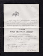HERVE Simon-Chrétien KATZFEY Veuf DELSAUTE 66 Ans 1879 Faire-part Décès KLINKENBERG - Décès