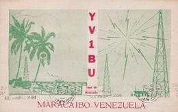YV1BU LAGO DE MARACALBO, VENEZUELA, QSL CIRCULEE 1953 A BUENOS AIRES. BANDELETA PARLANTE RADIO HAM- BLEUP - Radio-amateur