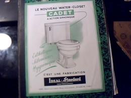 Publicité   Ancienne Tract WATER CLOSET  Cadet A  Action Syphonique IDEAL STANDART  A Paris Bd Haussmann Annee 50/60 - Publicités