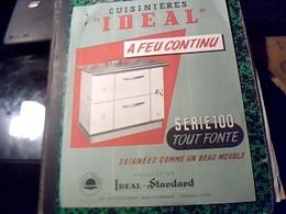 Publicité   Ancienne Tract Cuisiniere A Feu  Continu Serie  100  IDEAL STANDART  A Paris Bd Haussmann Annee 50/60 - Publicités