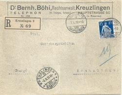 """R Brief  """"Böhi, Rechtsanwalt, Kreuzlingen""""          1919 - Suisse"""