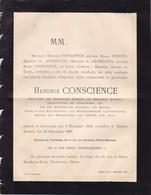 ELSENE IXELLES ANVERS Hendrik CONSCIENCE 1812-1883 Littérateur Flamand Famille ANTHEUNIS Texte Flamand - Décès