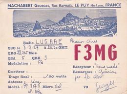 F3MG. LE PUT, HTE LOIRE, FRANCE, CIRCULEE 1957 A ARGENTINE. STAMP A APAIR. QSL RADIOHAM- BLEUP - Radio-amateur