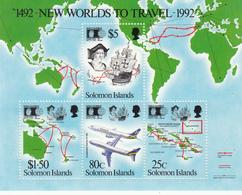1992 Solomon Islands World Columbian Stamp Expo Maps,aviation Souvenir Sheet MNH - Salomon (Iles 1978-...)