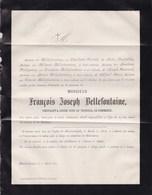 BLANKENBERGE BLANKENBERGHE François Joseph BELLEFONTAINE Négociant  Liège 58 Ans 1877 Faire-part - Décès