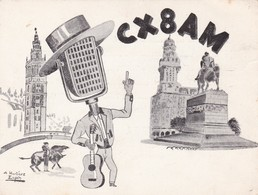 CX8AM. A MARTINEZ SPIN ILLUSTRATION. URUGUAY.  CIRCULEE 1956 A ARGENTINE. QSL RADIOHAM- BLEUP - Radio-amateur