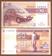 CZECHOSLOVAKIA 30 Korun 2018 UNC. 30th Anniversary Of Skoda Favorit. Private Essay. Specimen. - Billets