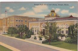 Maine Bangor High School And Library Curteich - United States