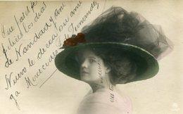 RETRATO MUJER CON SOMBRERO, MODA ANTIGUA / PORTRAIT WOMAN WITH HAT, OLD FASHION / CIRCA 1910 POSTAL POST CARD -LILHU - Fotografie