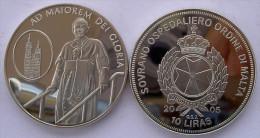 MALTA 10 L 2005 CU NI ORDINE SOVRANO OSPEDALIERO AD MEMORIAM DEI GLORIA JOHANNES PAULUS II PESO 26,2 CONSERVAZIONE FONDO - Malta, Sovr. Mil. Ordine Di