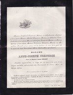 HERVE Anne-Joseph CORNESSE Veuve DEMARET 62 Ans 1886 Faire-part Familles SPIROUX FRANCK - Décès