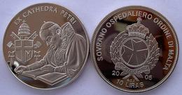 MALTA 10 L 2005 CU NI ORDINE SOVRANO OSPEDALIERO EX CATHEDRA PETRI II PAPA GIOVANNI PAOLO PESO 26,2 CONSERVAZIONE FONDO - Malte (Ordre De)