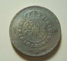 Sweden 1 Kroner?? 1948 Silver???? - Suède