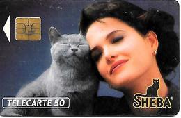 CARTE-n-PUCE-PRIVEE-PUBLIC- 50U-EN 286-S03-12/91-SHEBA CHAT-R°Mat-UTILISE-BE - France