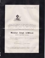 LIEGE Fabricant D'armes Joseph LEMILLE 72 Ans 1882 Familles BOVY DEMARTEAU PROST PROESMAN - Décès