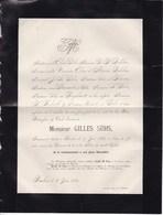 BAELEN Gilles SUHS 72 Ans 1885 Faire-part Mortuaire DAHLEN - Décès