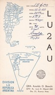 LU2AU DIVISION LU REPUBLICA ARGENTINA. CIRCULEE 1955 A ARGENTINE. QSL RADIOHAM- BLEUP - Radio-amateur