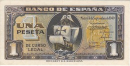 BILLETE DE ESPAÑA DE 1 PTA DEL 4/09/1940 SERIE C CARAVELA SIN CIRCULAR-UNCIRCULATED (BANKNOTE) - [ 3] 1936-1975 : Régence De Franco