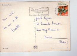U4146 Nice Timbre (flamme) LUFTPOS SCHNELL ZUVERLASSIG (airplain, Aeroplano) On Postcard: EINSIEDELN, KLOSTER - SZ Schwyz