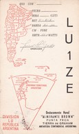 LU2ZE DIVISION LU REPUBLICA ARGENTINA, DESTACAMENTO NAVAL ALMIRANTE BROWN.CIRCULEE 1953 A ARGENTINE. QSL RADIOHAM- BLEUP - Radio-amateur