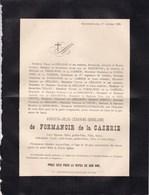 CHAUDFONTAINE TEMPLEUVE Augusta De FORMANOIR De La CAZERIE 30 Ans 1885 Faire-part Mortuaire TIRANT De GERADON - Décès