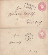 AD Baden Briefe 1862 2 X Nr. U9A Stempel Boxberg - Baden