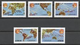 Ghana 1990 Mi# 1387-91** INTERNATIONAL TELECOMMUNICATIONS SATELLITE ORGANIZATION 25th ANNIV. - Ghana (1957-...)