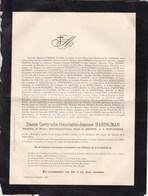 ANHOLT IXELLES Gertrude HARINGMAN Veuve Henri Comte Du CHASTEL De La HOWARDRIES 1800-1886 Famille PIEPERS IWEINS - Décès