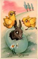 JOYEUSES PAQUES Poussins Et Lièvre De Pâques Carte Comme Neuve - Easter