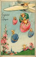 JOYEUSES PAQUES Poussins Sortants D'un Avion - Easter