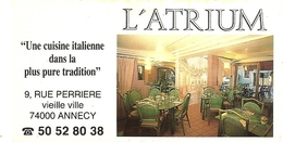 *Carte Visite Restaurant - L'Atrium à Annecy (74) - Cartes De Visite