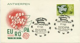 BELGIO - FDC  1961 - EUROPA UNITA - CEPT - SPECIAL CANCEL SODIPA - ANTWERPEN - 1961-70
