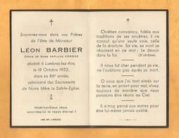 IMAGE GENEALOGIE FAIRE PART AVIS DECES CARTE MORTUAIRE BARBIER CORBIERES LAMBRES LEZ AIRES 1866 1952 - Décès