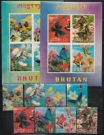BHOUTAN - N°170/173+ PA + BLOC N°14/5  ** (1968) PAPILLONS - Bhutan